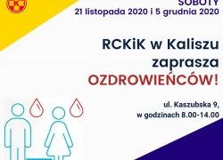 Regionalne Centrum Krwiodawstwa i Krwiolecznictwa w Kaliszu zaprasza ozdrowieńców